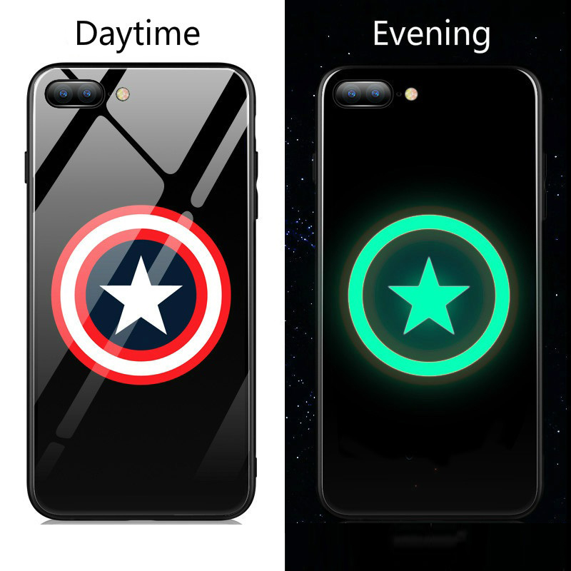 new arrival 6f432 acb22 Captain America Luminous Glass iPhone Case